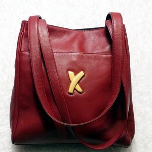 Paloma Picasso Deep Red Calfskin Shoulder Bag